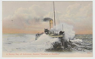 "P.S.""Duchess of Hamilton""(1890) off Ardrossan: Caledonia Steamers Adv. PPC, VG+"