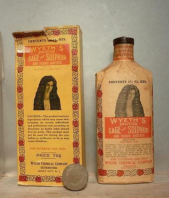 1910s LABELED HAIR BOTTLE-Wyeth's Sage & Sulphur-Full Label-Box-Contents
