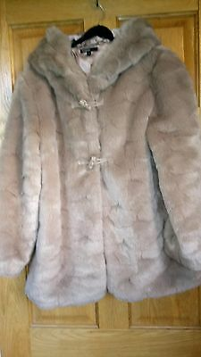 Beautiful light Fawn faux fur coat age 13-14 (Autograph by marks & spencers)