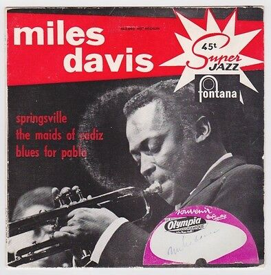 MILES DAVIS 1957 French EP SIGNED AT PARIS OLYMPIA W/EPPERSON COA, Guaranteed