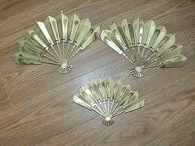 Set of 3 Gold Fan Wall Hangings Home Interiors Mid Century MCM MC Kitsch