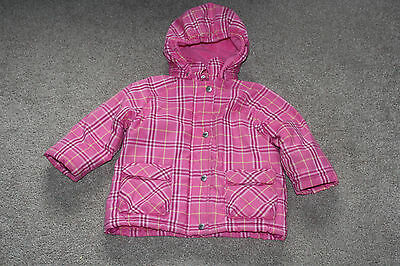 Girls H & M Chiboogi Pink Check Hooded Warm Padded Coat Size 1.5 - 2 Years