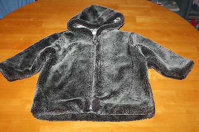 Girls Next Two Tone Grey Soft Furry Hooded Winter Warm Coat Size 1.5 - 2 Years