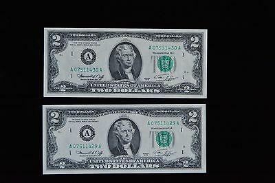 Lot of 2 Unc. consecutively # 1976 Series Two Dollar Bills sn#A07577429A - 30A