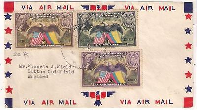 d55 ECUADOR FDC of air stamps airmail cover  to GB
