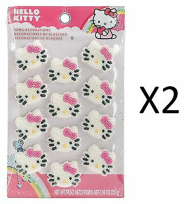 Wilton Cupcake/Cake Toppers 12pc Hello Kitty Icing Decorations 710-7575 (2-Pack)
