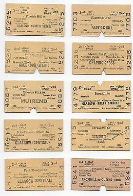 BR (H) 10 Different Single Tickets from the Glasgow Area used and dated1968-1970