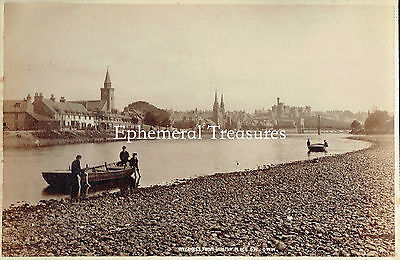 Inverness, Scotland from the river.   Superb 1880s Albumen Photograph