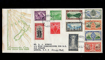 New Zealand 1946 Peace Stamps Set First Day Cover With Wellington Cds Postmarks