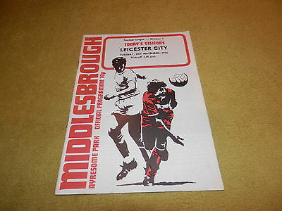 Middlesbrough v Leicester City - Division 1 in 1974/75 season & Abandoned