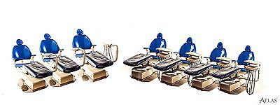 Lot of 7 Adec 8000 Performer Blue Dental Exam Chairs w/ Deliveries & 11 Stools