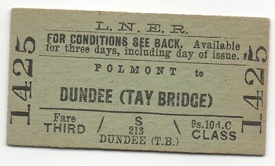 LNER Single Ticket 3rd class Polmont to Dundee Tay Bridge