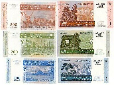 MADAGASCAR - 3   great  different  UNC  100 / 200 / 500   ariary