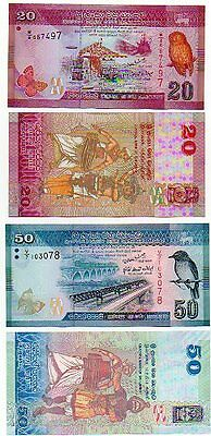 SRI LANKA - 2  great  different  UNC notes    20  &  50 rupees  -  FEW LEFT !