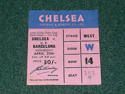 Ticket 1966 Fairs Cup Semi Final - CHELSEA v. BARCELONA