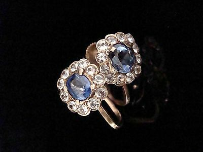 Edwardian 9Ct White And Blue Sapphire Cluster Screw Earrings
