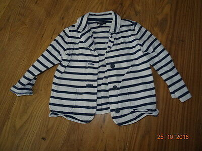 GIRLS GAP WHITE AND BLUE STRIPED BLAZER STYLE JACKET age 2 years IN VGC