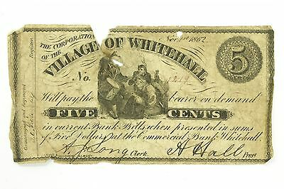 Civil War Era 1862 Village of Whitehall NY Five Cent Fractional Currency