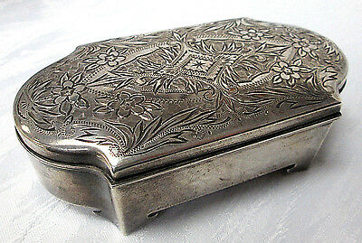 156.6g ANTIQUE STERLING SILVER MITSUWA & CO. ENGRAVED BOX (#370)