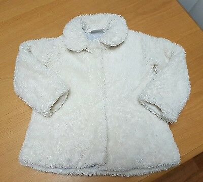 girls cream faux fur coat from Next age 3-4