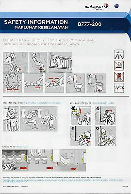 Malaysia Airlines - Boeing B777-200 - 08/2013 - Safety Card - Consignes Securite