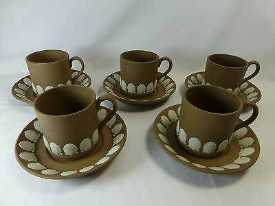 Five Wedgwood Taupe Brown Jasperware Demitasse Cups & Saucers With Shell Motif
