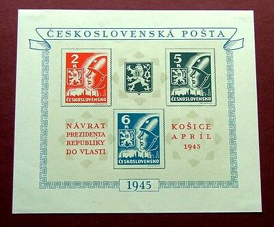 Czechoslovakia 1945 - Kosice Issue Miniture Sheet - M/h
