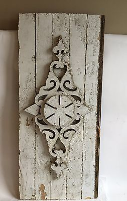 Antique 1890's Wood Victorian Architectural Header Gingerbread Pediment White A1