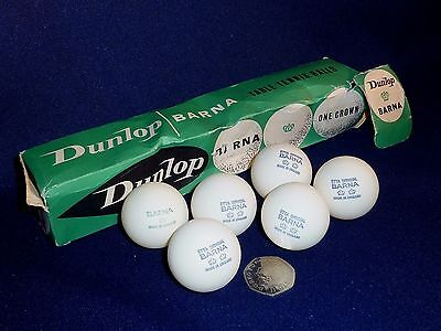 x6 DUNLOP BARMA VINTAGE BOXED TABLE TENNIS BALLS BALL COLLECTABLE OLD GAME 60s