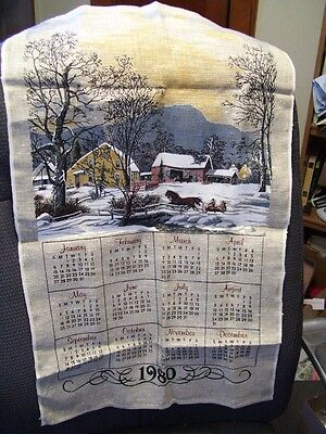 Original 1980 Currier and Ives Cloth hanging calender, original envelope