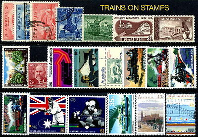 Trains: 21 Topical Stamps from Australia 1932-1992 (21)