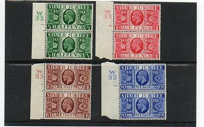 (A129) George V Silver Jubilee Set In Pairs With Control Numbers Mint Mnh