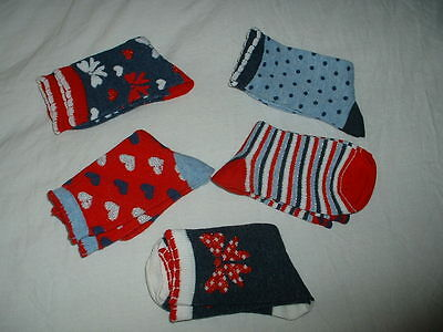 Five  (5) Pairs Girls Lovely Multi  Socks Age 11+  Years  New