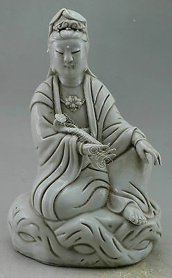 Collectible Decorated Porcelain Carved Kwan-yin Hold Ruyi Statue