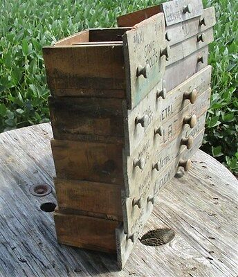 15 Folk Art Hand Painted Wooden Drawers Hardware Store Vintage Advertising Sign