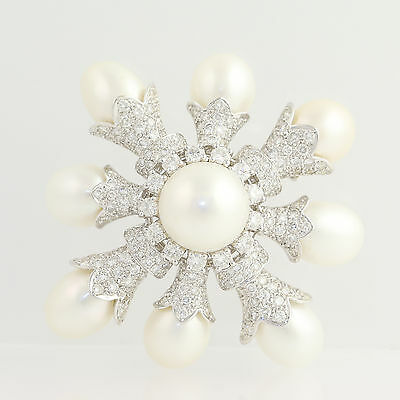 Cultured Pearl & Diamond Brooch - 18k White Gold AAA Pearls June Gift 4.35ctw