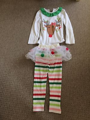 Christmas Reindeer Top With Pom Pom Tutu Leggings Age 5-6 Years See Description