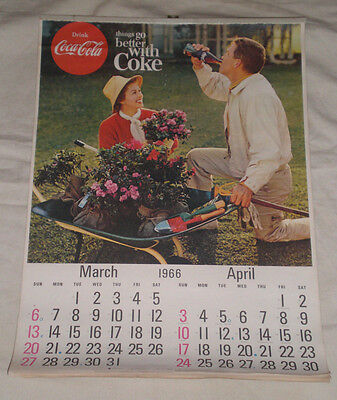 Original MARCH / APRIL 1966 COCA COLA CALENDAR-  GARDENING