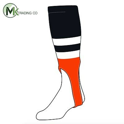 "TCK® X-Large, 700G, 7"" - Black–White–Orange - MLB® Baseball Stirrups"