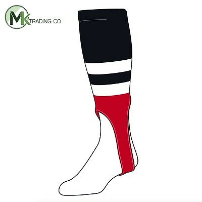 "TCK® X-Large, 700G, 7"" - Black–White–Scarlet Red - MLB® Baseball Stirrups"