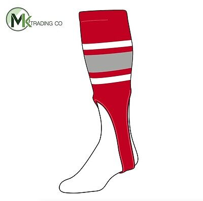 "TCK® X-Large, 700E, 8"" - Scarlet Red–White–Grey - MLB® Baseball Stirrups"