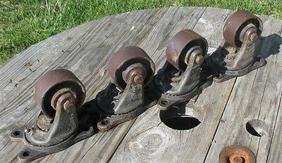 4 Vintage Cast Iron Factory Cart Dolly Wheels Industrial Machine Age Swivel a68