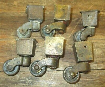 6 Brass Squared Tipped Wheels Industrial Age Furniture Roller Dresser Vintage d