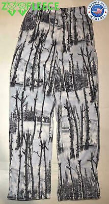 Polar Fleece Hunting Pant Camo Camouflage Snow White Winter Warm Soft Thermal