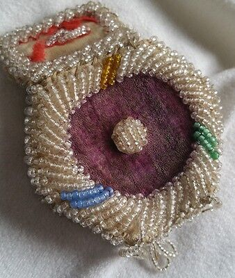 Antique Iroquois Souvenir Beaded Purse Native American Indian