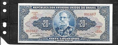 BRAZIL #168b 1963 UNC MINT 20 CRUZEIROS OLD BANKNOTE PAPER MONEY CURRENCY  NOTE