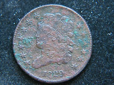 1829 1/2C BN Classic Head Half Cent Sharp Detail Corroded Type Coin