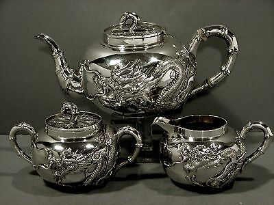 Chinese Export Silver Tea Set                        DRAGON              IN CASE