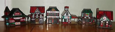 Coca-Cola Franklin Mint Stained Glass Village Fire Train Gas Bed Breakfast Soda
