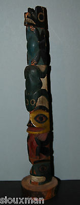Vintage NW Coast wood carved Totem, ca 1920's Bear, Human, Frog effigy's 10-1/2""